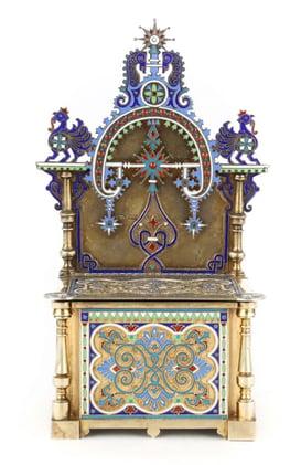 Russian cloisonne enamel silver-gilt salt throne
