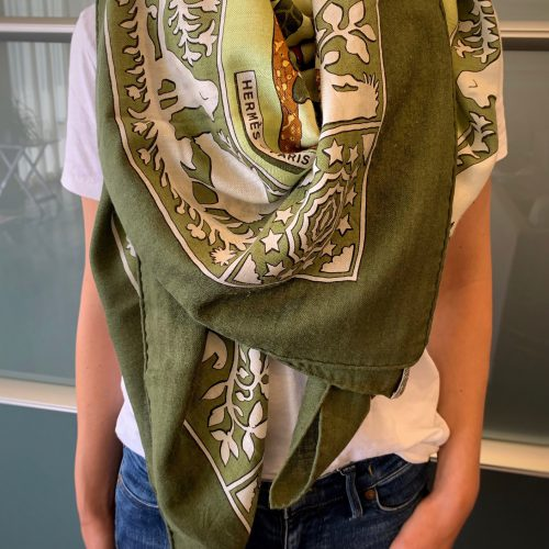 """A Hermes """"Early America"""" Cashmere Silk Shaw"""