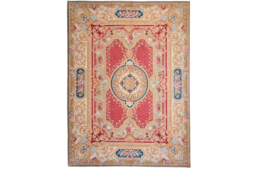 Traditional wool pile hand knotted red rug, 9' x 12'